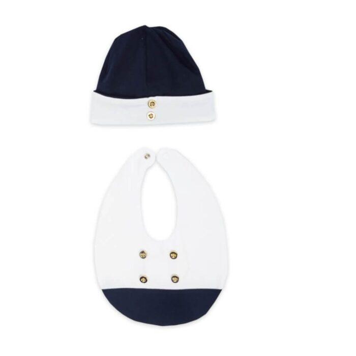 set-cappello-bavetta-neonato-bottoni-dorati
